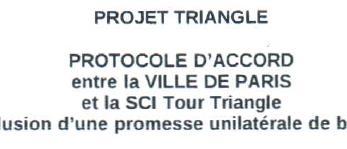 Protocole d'accord entre Ville de Paris et SCI Tour Triangle