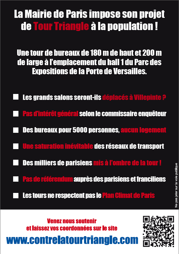 Flyer de la manifestation contre la Tour Triangle à Paris