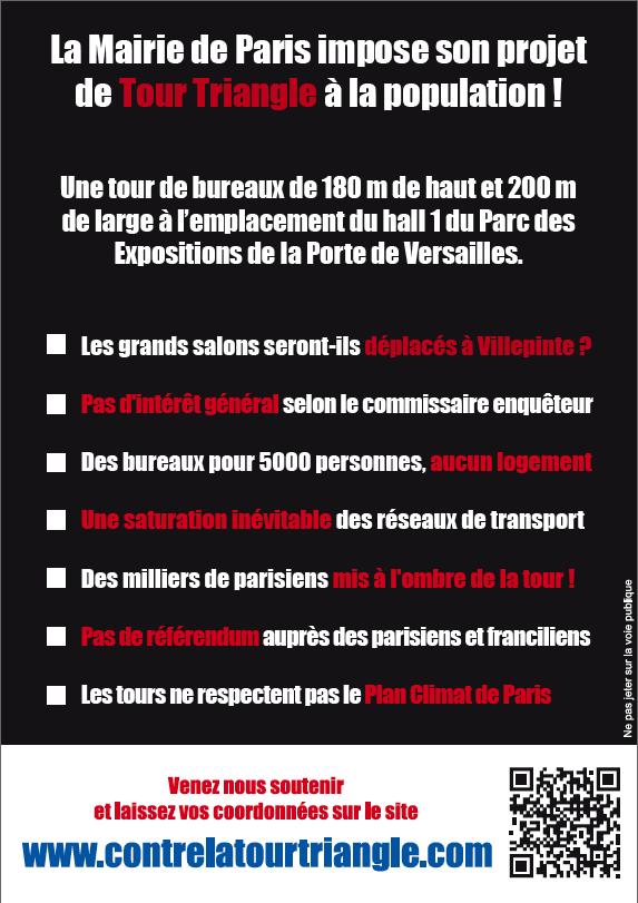 Flyer de la manifestation contre la Tour Triangle à Paris