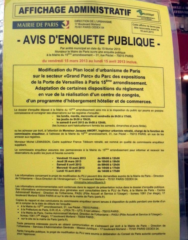 avis enquete publique - grand parc - parc expositions  Paris - Tour Triangle