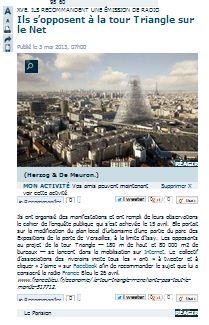 Le Parisien - Ils s'opposent à la Tour Triangle sur le Net