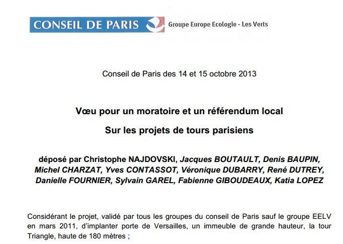 Conseil de Paris - moratoire projets de tours EELV