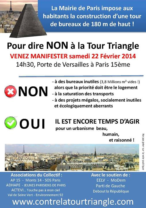 Manifestation-22 février-tour triangle -urbanisme Paris-municipales Paris