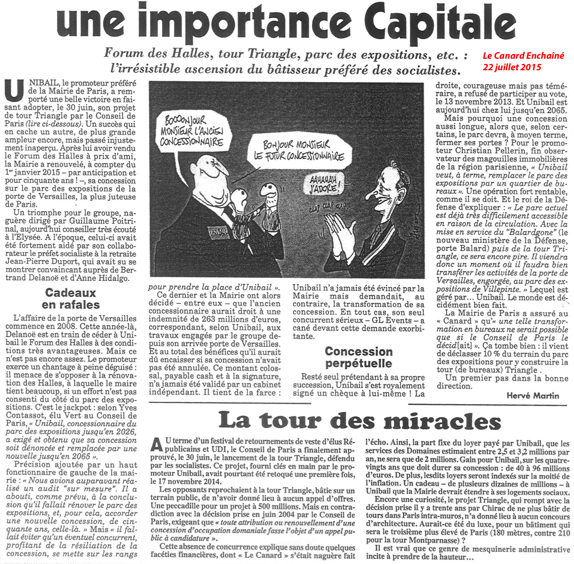 Unibail - Hidalgo - Tour Triangle article Le Canard Enchaîné 22 juillet 2015