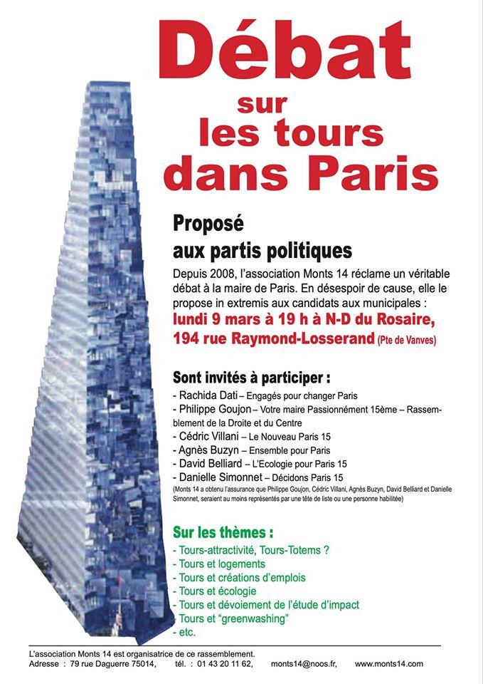 débat sur les tours à Paris  9 mars 2020