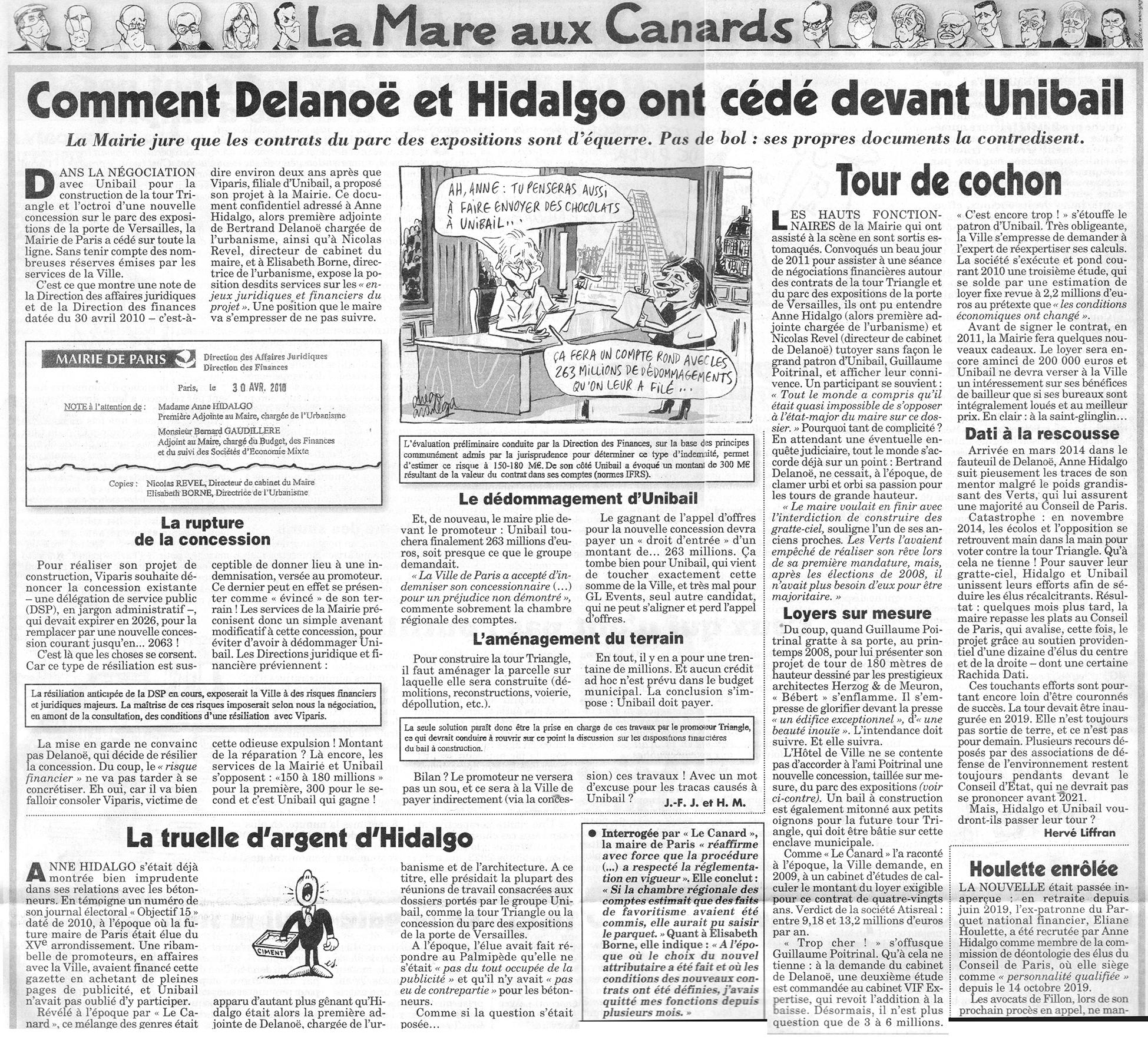 Tour Triangle - Canard Enchainé 5 aout 2020